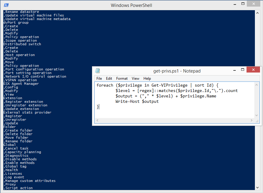 Results of executing the PowerShell code showing some of the vCenter privileges