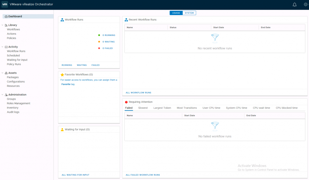 vRO 7.6 HTML client dashboard