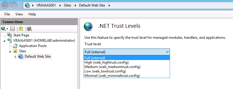 vRA installation failure caused by  NET trust levels in IIS